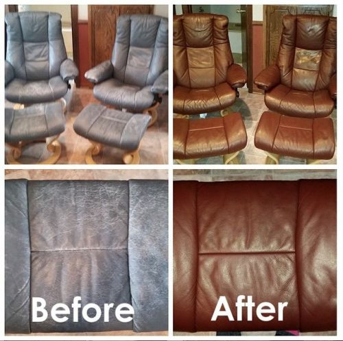 Before and after chair color restoration