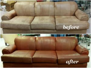 Sofa restoration before and after photo cherry color