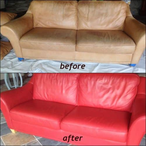Before and after photo of a couch that has been recolored from tan to red chili.