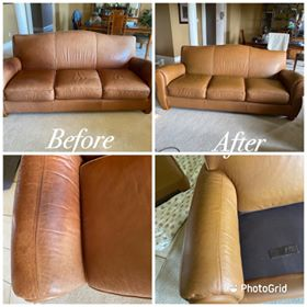 Before-after collage of leather couch restored with Cognac Rub n Restore