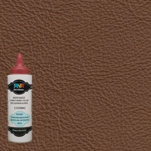 Infographic showing Cognac leather color and Rub n Restore bottle