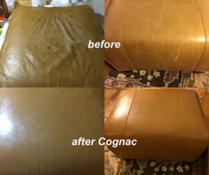 Before and after photos of a leather footstool that has been dyed with cognac brown rubnrestore dye