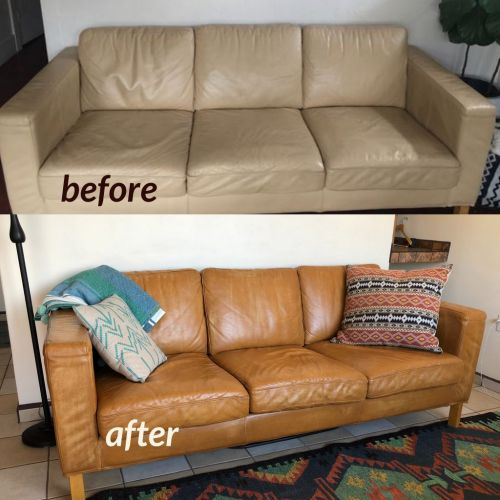 Before and after photo of leather couch recolored with cognac dye