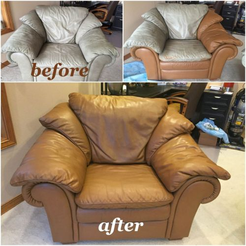Before, during, and after photos of off-white leather chair changed to Cognac with Rub n Restore leather paint