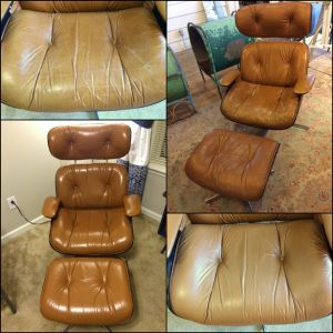 Leather lounge chair re-color before and after photos