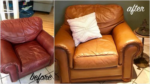 Leather chair restored with Cognac color dye