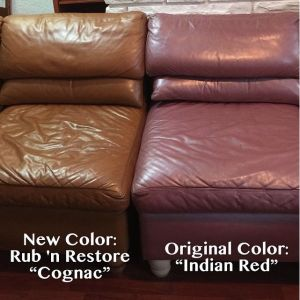 A leather chair re-color before and after photos