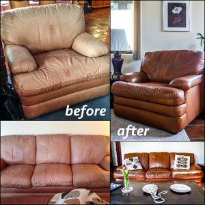 Leather furniture that has been recolored with cognac brown dye