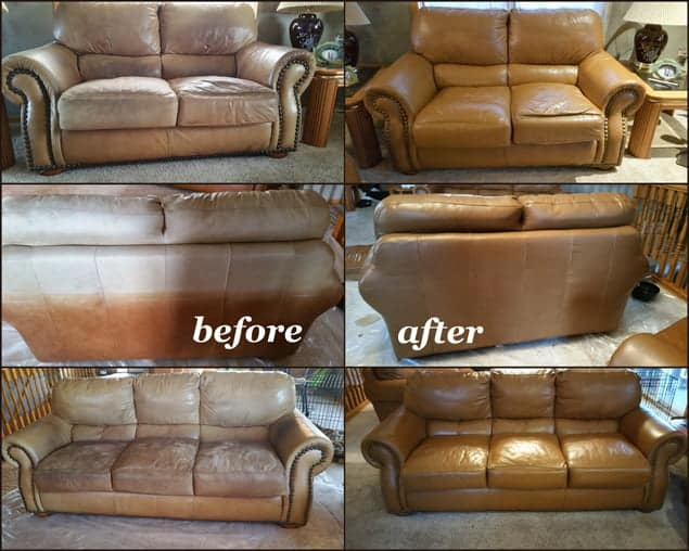 Before pictures of sun-bleached leather furniture and after Cognac Rub n Restore leather dye