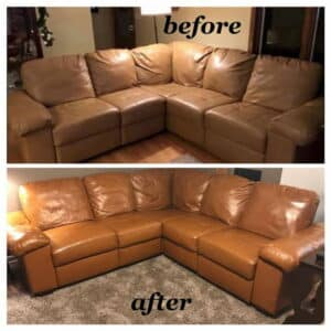 Before and after leather couch restoration cognac color