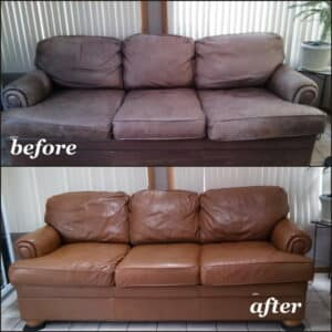 Before and after leather restoration cognac color