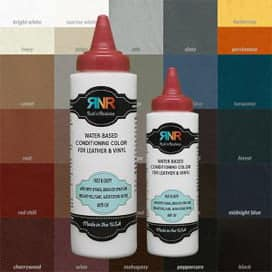 A photo of Rub n Restore bottles over a leather color chart.