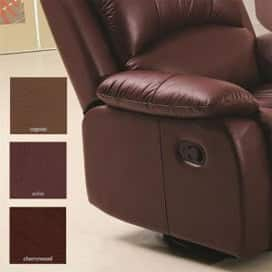 A photo of a leather chair with custom color choices.