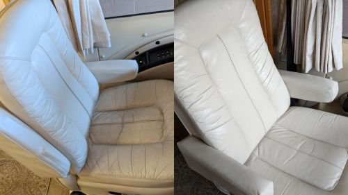 Rv seats that have been restored with custom color dye.