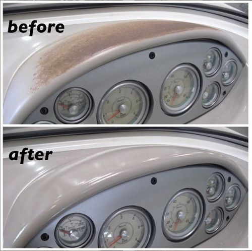 Before and after photo of color restoration on boat dashboard