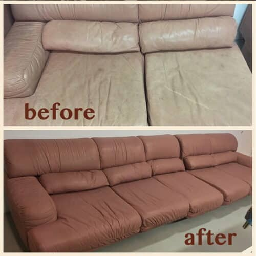 Before and after photo of color change on leather sofa tan to brown