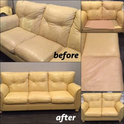 Custom color change on sofa before and after