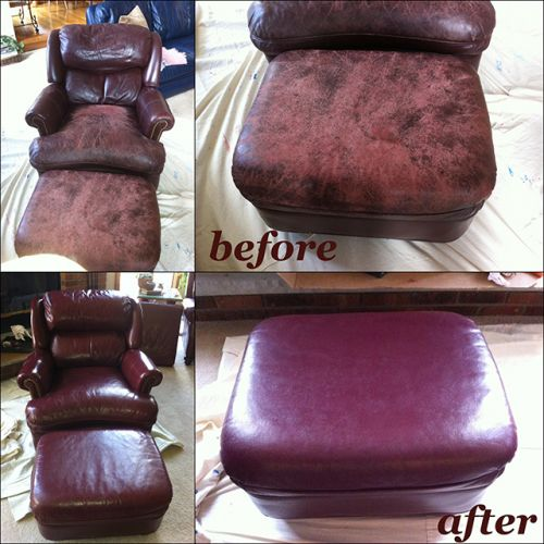 Before and after photo of leather chair restored with plum color