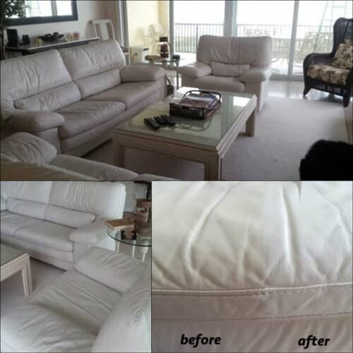 White sofa restored, before and afeter