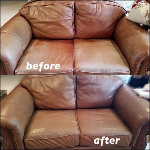 Love seat before and after photos of color restoration