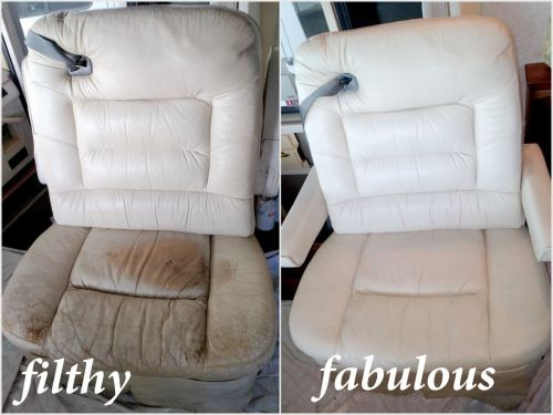 Before and after photo of restoration of a car seat.