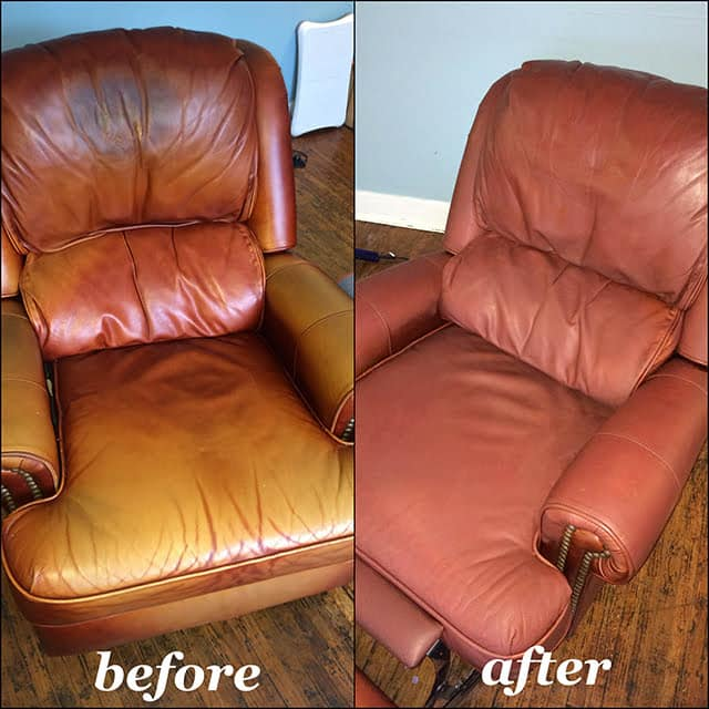 Before and after photo of leather chair restoration