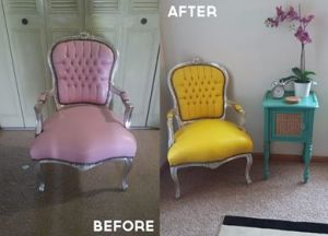 Before and after a leather chair is recolored with custom dye.