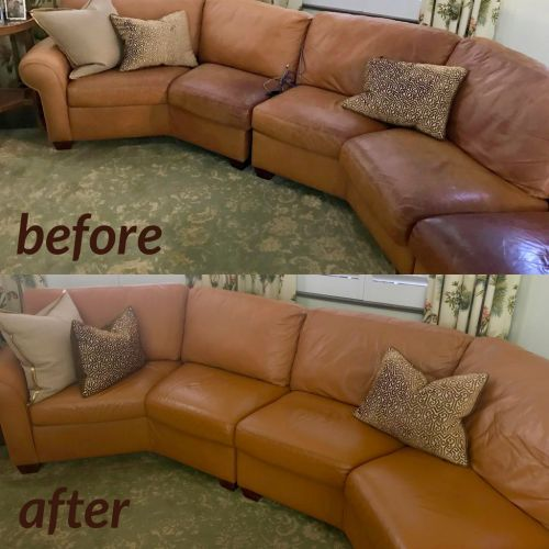 Custom dye used to restore a leather sectional.