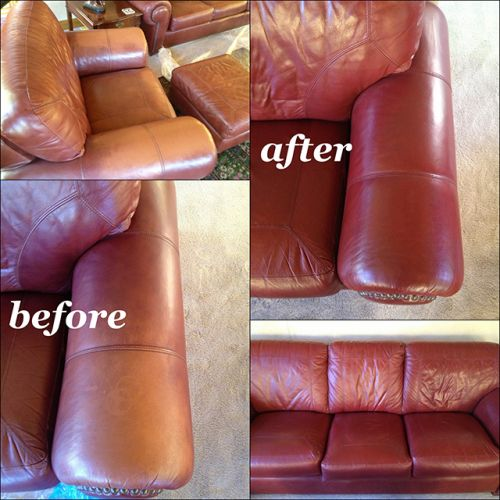Before and after color restoration with red on leather
