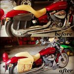 Before and after photo of custom color change on motorcycle saddlebags