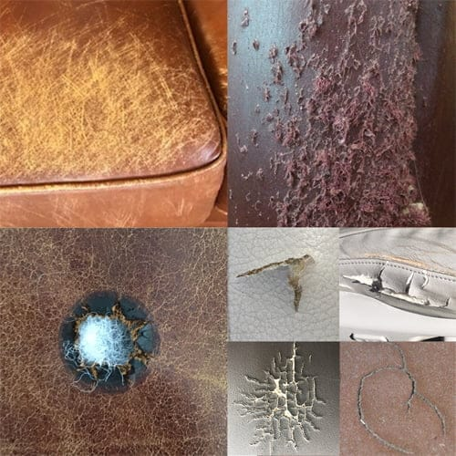 Examples of damage on leather and vinyl
