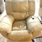 Picture of discolored, dirty leather recliner
