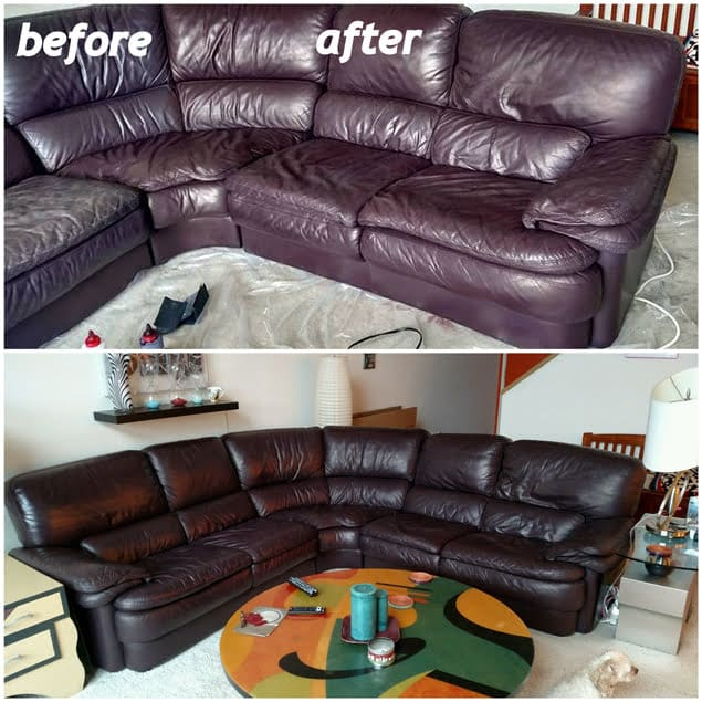 before and after photos of a color restoration on leather sectional