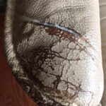 Picture of tear and cracking in Ekornes leather chair arm