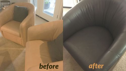 Club chairs that have been recolored with espresso color dye.