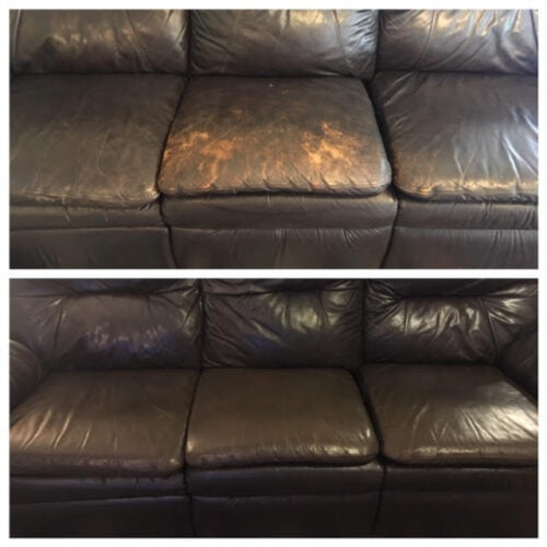Before-after collage of brown leather couch fixed with Espresso brown Rub n Restore