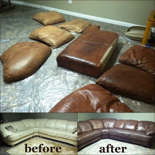 A leather sectional that has been re-dyed with espresso color