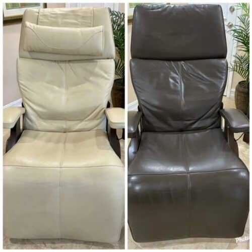 Before-after picture of ergo leather chair changed from beige to espresso with RubnRestore