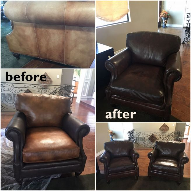 Before and after photos of restored leather chairs.