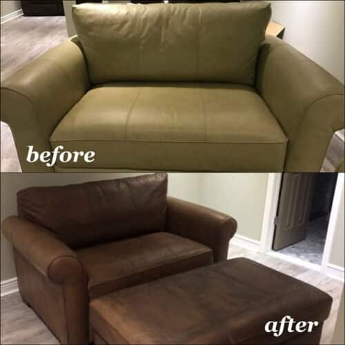 Restoration photos of a leather chair