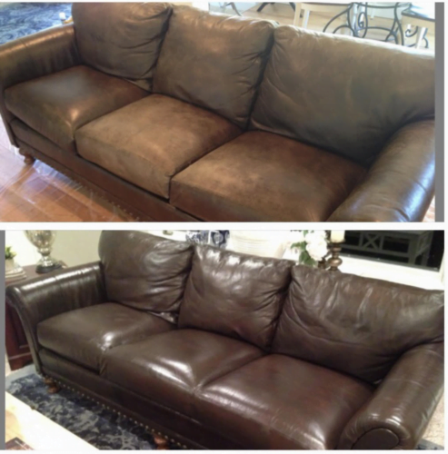 Before and after of 14 year old leather couch restored with Espresso RubnRestore