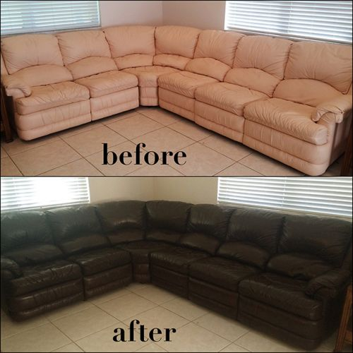 Leather couch restored with Rub n Restore dye