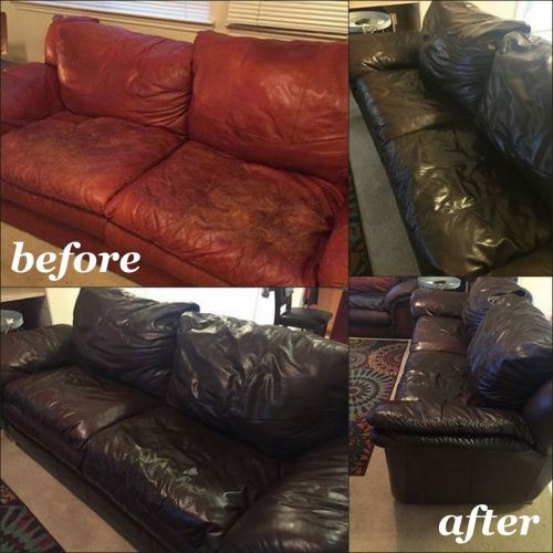 Before photos of worn red leather couch and photos after Espresso Rub n Restore leather dye