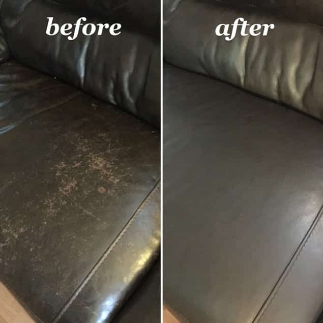 Before photo of worn leather couch and photo after Espresso Rub n Restore