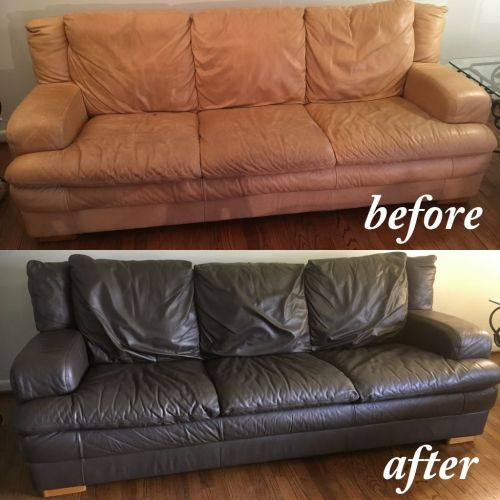 Before photo of tan leather couch and after Espresso leather paint