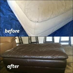 An ottoman that has been recolored with Rub n Restore