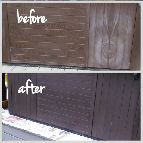 Picture of vinyl hot tub siding recolored with Espresso Rub n Restore vinyl paint