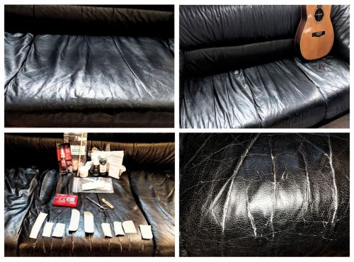 Photos of the repair & restoration of a black leather couch.