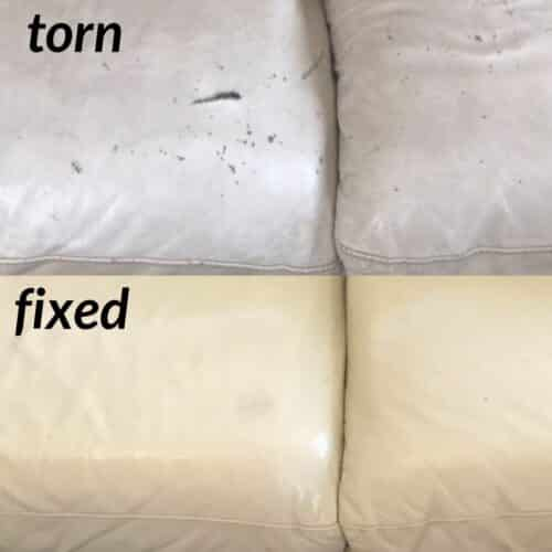 Leather that has been repaired with filler compound, before and after photo.