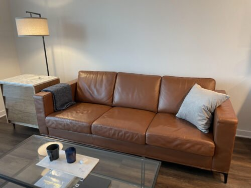 Leather couch changed from beige to rust-cognac with Rub n Restore leather paint